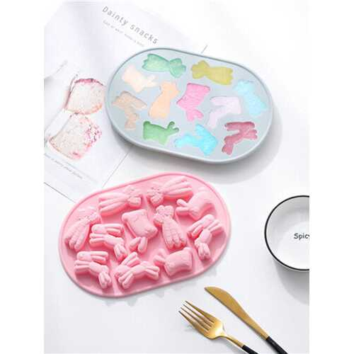 11-holes Easter Rabbits Carrots DIY Cake Pudding Mould Reuseable Flexible Non-sticky Silicone Home Handmake Baking Hoilday Food Mold Bakeware