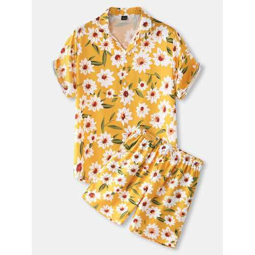 Allover Daisy Print Two Pieces Outfits