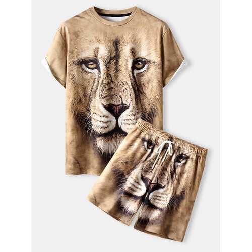 3D Lion Print Street Short Co-ords