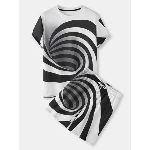 3D Abstract Stripe Printed Co-ord