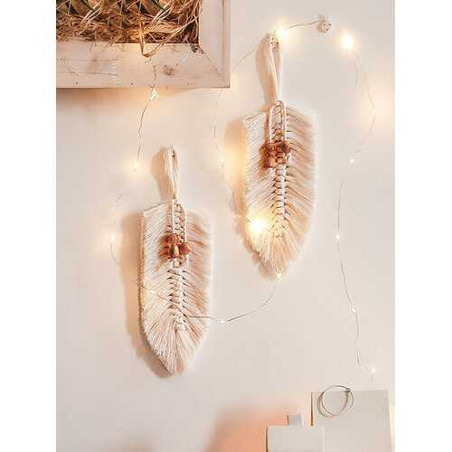 1PC Nordic Macrame Wall Hanging Leaf Tapestry Decor Bohemian Tassel Chic Cotton Home Decor Tassel Tapestries Wall Ornament