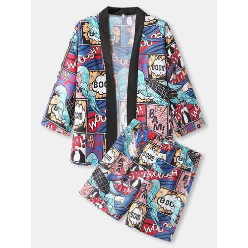 Comics Print Kimono Two Pieces Outfits