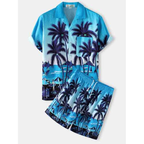 Coconut Tree Landscape Print Two Pieces Outfits
