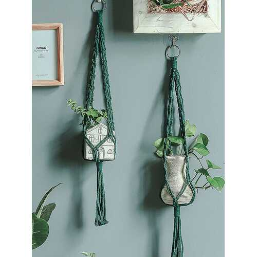 1PC Handmade Macrame Flowerpot Net Vintage Hanging Basket Plant Hangers Cotton Flowerpot Hanging Pot Rope Garden Balcony Decor