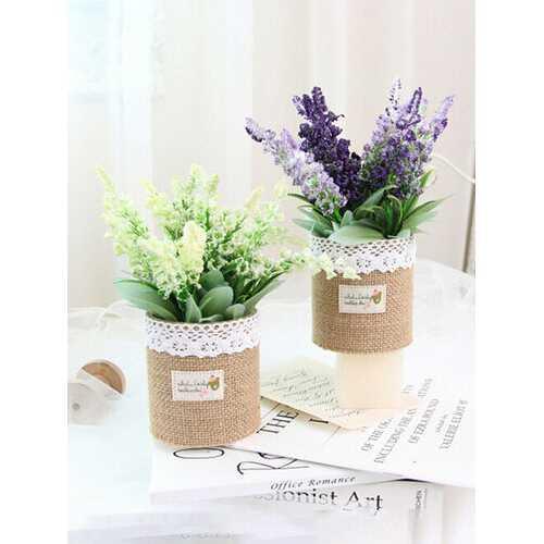 1PC Potted Lavender Artificial Flower Linen Bag Bonsai Home Office Garden Decor Artificial Green Leave Plant Decoration