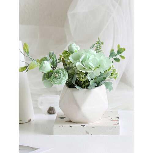 1PC Potted Rose Artificial Flower Iron Pot Bonsai Home Office Garden Decor Artificial Green Leave Plant Decoration