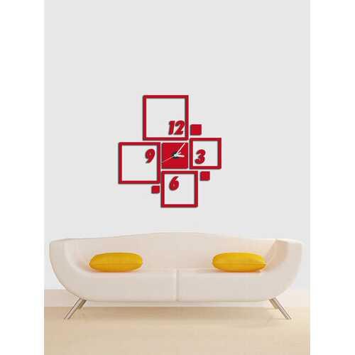 Acrylic Mirror Stickers Wall Clock Modern Design Matching Square 3D DIY Duvar Saati Clocks For Office Living Room Home Decor