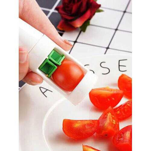 1PC Slicer Grape Small Tomato Slicer For Salad Kitchen Infant Food Supplement Tool ABS Stainless Steel Fruit Slicing Tool
