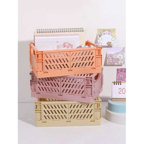 1Pc Mini DIY Folding Plastic Desktop Stationery Organizer Storage Box Large Capacity Creative School Office Desk Storage Basket