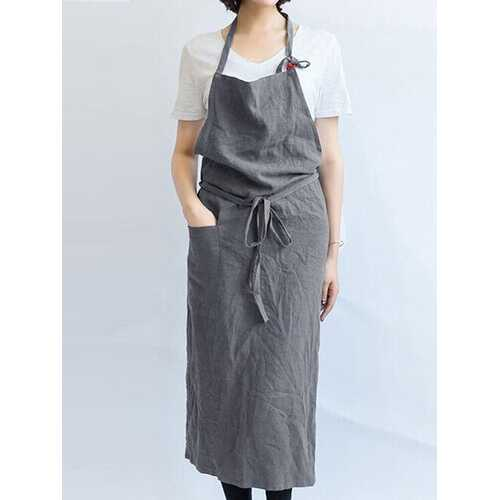 Solid Color Anti-fouling Linen Apron Front Waist Tie Cafe Shop Kitchen Home Cooking Vest Apron