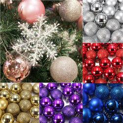 DIY 24Pcs Candy Color Plastic Christmas Tree Jewelry Ornament Balls