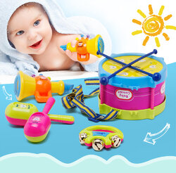 5Pcs Kids Baby Roll Drum Musical Instruments Band Kit