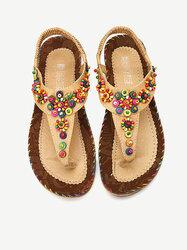 Flowers Splice Flat Summer Sandals