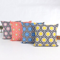 Colorful Geometric Duplex Printing Throw Pillow Cases Soft Dacron Home Sofa Cushion Cover