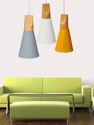 Wooden European Style Aluminum Ceiling Lampshade Pendant