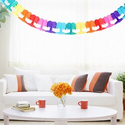 3 Meters Hawallan Beach Party Themed Chain Banner Paper Rainbow Tropical Palm Tree
