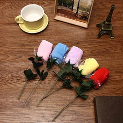 20x20cm Mircrofibre Rose Flower Water Absorbtion Towel Festival Valentine Birthday Wedding Gifts