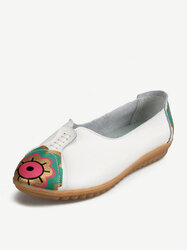 Flower Sun Eye Pattern Leather Soft Comfortable Slip On Flat Shoes