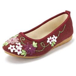 Flower Vintage Colorul National Wind Slip On Flat Loafers