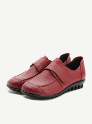 Soft Sole Leather Hook Loop Flat Pure Color Shoes