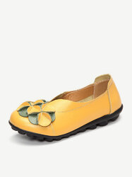Socofy Flower Leather Flats