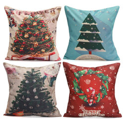 Christmas Tree Snowmen Gift Fashion Cotton Linen Pillow Case Santa Claus Home Decor