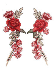 1 Pair Rose Flower Floral Collar Sew Patch Cute Applique Badge Embroidered Bust Dress DIY Decoration