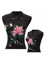 Rose Flower Motif Collar Sew on Patch