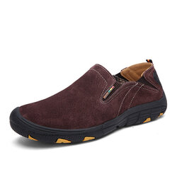 Men Hiking Shoes Soft Leather Slip On Outdoor Sneakers