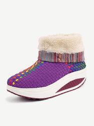 Knitting Color Match Fur Lining Folded Platform Rocker Sole Ankle Boots
