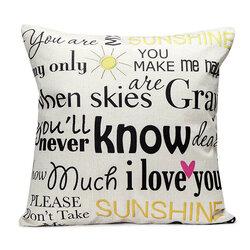 English Letter Fashion Cotton Linen Pillow Case Home Sofa Seat Bed Car Cushion Decor