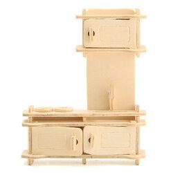 34 Pcs 3D DIY Wooden Miniature Dollhouse Furniture Model Unpainted Suite Intelligence Toys