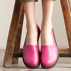 Socofy Leather Pure Color Casual Outdoor Soft Flat Loafers