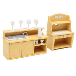Kitchen Cabinets Set for Families Calico Critters Dolls