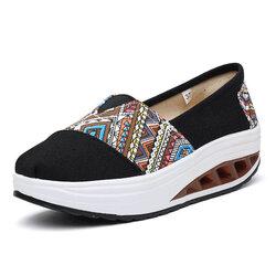 Pattern Print Comfortable Slip On Rocker Sole Shake Women Shoes