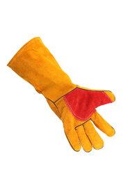 "2Pcs Heavy Duty Lined Reinforced Palm 16"" Welding Gauntlers Welders Leather Gloves Panther"