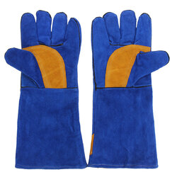 A Pair Insulation Welding Gloves Blue Thicken Leather Protective Gloves