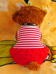 Fashion Pet Dog Clothes Leisure Striped Dresses Shirt Skirt For Small Medium Large Dogs XS-XL