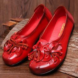 SOCOFY Flower Tassel Soft Shoes