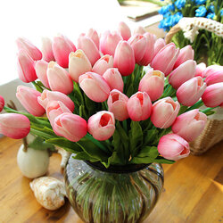 10PCS PU Fake Artificial Silk Tulips Flores Artificial Bouquets Home Room Party Decoration