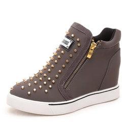 Rivet Zipper Wedge Heel Increasing High Top Casual Shoes