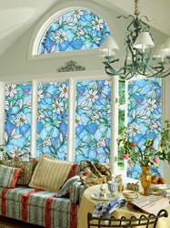 3D Sunscreen Window Flower Stained Glass Film Sticker Home Privacy Decor