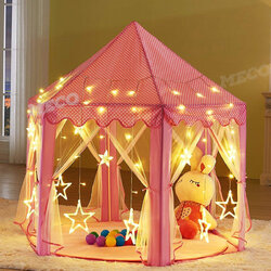 <US Instock>12 Star Lights Princess Castle Play House Outdoor Indoor Kids Girl Play Tent