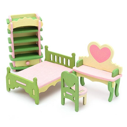 4 Sets of Delicate Wood Dollhouse Furniture Kits for Doll House Miniature Family Fun Toy