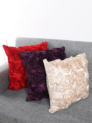 Creative European Style Solid Color Rose Pattern Pillow Case Home Decor Cushion Cover Supplies