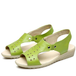 SOCOFY Leather Peep Toe Slip On Soft Sole Sandals