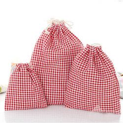 Drawstring Cotton Linen Grid Stripe Gift Bags