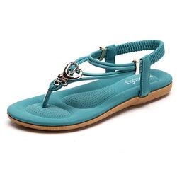 SOCOFY Metal Bohemia Slip On Clip Toe Flat Beach Sandals