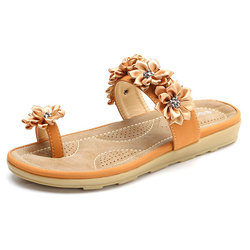 SOCOFY Floral Bohemia Clip Toe Flat Slippers For Women