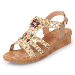Large Size Bohemia Solid Buckle Strap Woven Peep Toe Soft Sandals